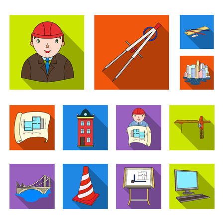 Architecture and construction flat icons in set collection for design. Architect and equipment vector symbol stock web illustration. Ilustração