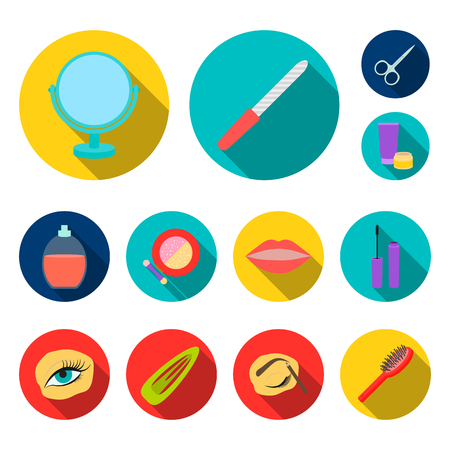 Makeup and cosmetics flat icons in set collection for design. Makeup and equipment vector symbol stock web illustration.