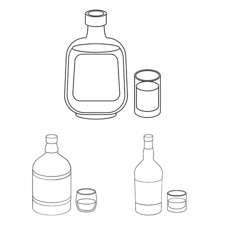Types of alcohol outline icons in set collection for design. Alcohol in bottles vector symbol stock web illustration. 일러스트