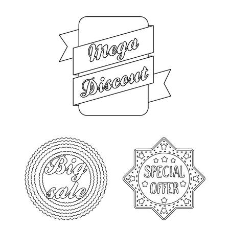 Different label outline icons in set collection for design. Index and brand vector symbol stock web illustration. Standard-Bild - 103019744