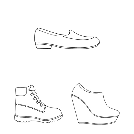A variety of shoes outline icons in set collection for design. Boot, sneakers vector symbol stock web illustration.