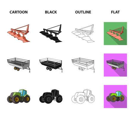 Plow, combine thresher, trailer and other agricultural devices. Agricultural machinery set collection icons in cartoon,black,outline,flat style vector symbol stock illustration web. Illustration