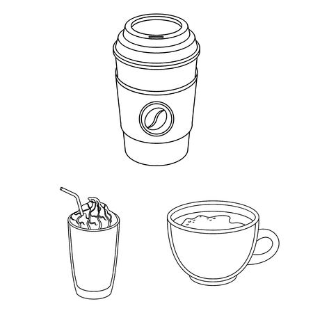 Different kinds of coffee outline icons in set collection for design. Coffee drink vector symbol stock web illustration. Иллюстрация