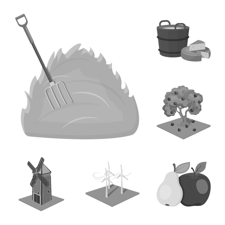 Farm and agriculture monochrome icons in set collection for design. Garden and plants isometric vector symbol stock web illustration.  イラスト・ベクター素材