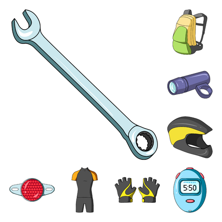 Bicycle outfit cartoon icons in set collection for design. Bicycle and tool vector symbol stock web illustration.
