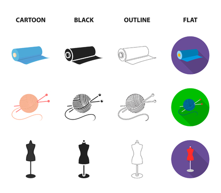 A mans shirt, a mannequin, a roll of fabric, a ball of threads and knitting needles.Atelier set collection icons in cartoon,black,outline,flat style vector symbol stock illustration web.