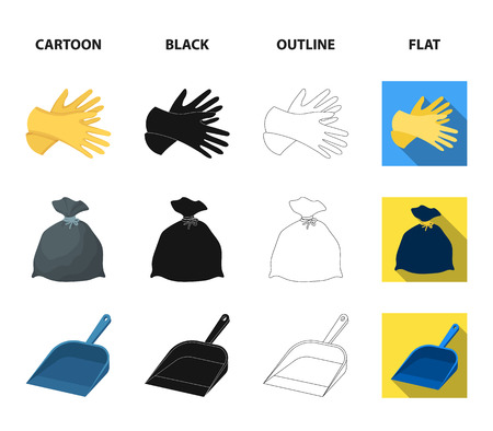 Gel for washing in a pink bottle, yellow gloves for cleaning, a brush for glass, a black bag for garbage or waste. Cleaning set collection icons in cartoon,black,outline,flat style vector symbol stock illustration web.