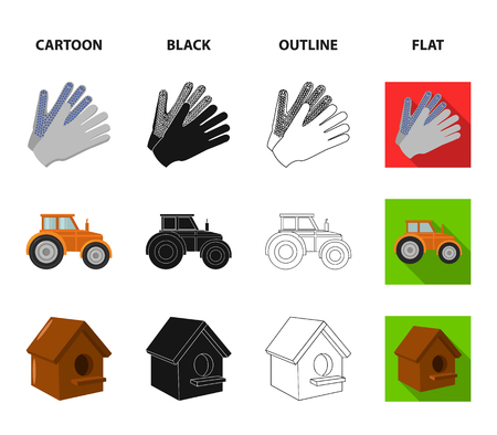 Spikelets of wheat, a packet of seeds, a tractor, gloves.Farm set collection icons in cartoon,black,outline,flat style vector symbol stock illustration web.