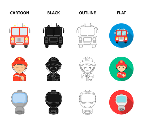 Fireman, flame, fire truck. Fire departmentset set collection icons in cartoon,black,outline,flat style vector symbol stock illustration web.