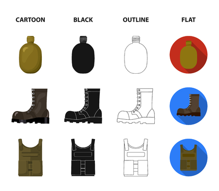 Sapper blade, hand grenade, army flask, soldiers boot. Military and army set collection icons in cartoon,black,outline,flat style vector symbol stock illustration web.
