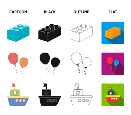 Stroller, windmill, lego, balloons.Toys set collection icons in cartoon,black,outline,flat style vector symbol stock illustration web.