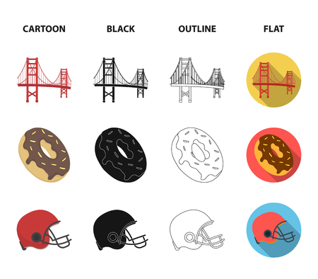 A megacity, a grand canyon, a golden gate bridge,donut with chocolate. The US country set collection icons in cartoon,black,outline,flat style vector symbol stock illustration web.
