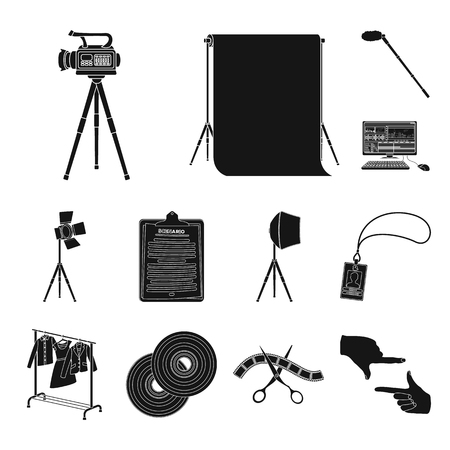 Making a movie black icons in set collection for design. Attributes and Equipment vector symbol stock web illustration. Çizim