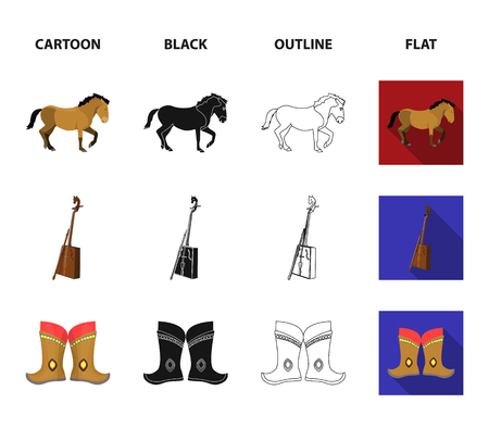 National flag, horse, musical instrument, steppe plant. Mongolia set collection icons in cartoon,black,outline,flat style vector symbol stock illustration web.