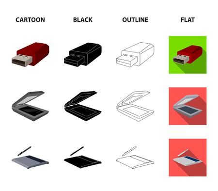 A system unit, a flash drive, a scanner and a SD card. Personal computer set collection icons in cartoon,black,outline,flat style vector symbol stock illustration web.