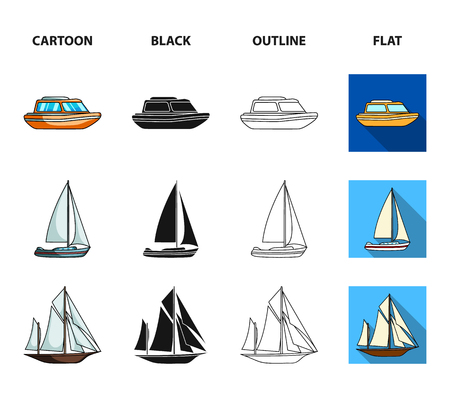 Protection boat, lifeboat, cargo steamer, sports yacht.Ships and water transport set collection icons in cartoon,black,outline,flat style vector symbol stock illustration web.