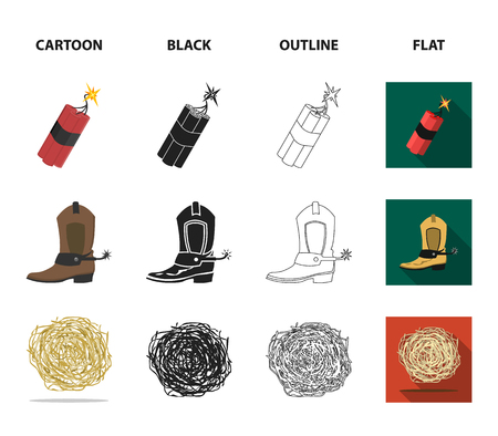 Star sheriff, dynamite, cowboy boot. Wild West set collection icons in cartoon,black,outline,flat style vector symbol stock illustration web. Stok Fotoğraf - 103020211