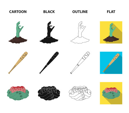 Zombies and Attributes cartoon,black,outline,flat icons in set collection for design. Dead man vector symbol stock web illustration.  イラスト・ベクター素材