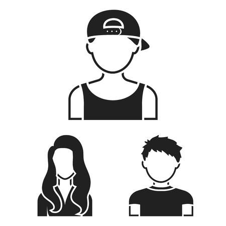 Avatar and face black icons in set collection for design. A persons appearance vector symbol stock web illustration.
