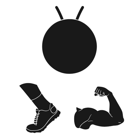 Fitness and attributes black icons in set collection for design. Fitness equipment vector symbol stock web illustration. Stock Illustratie