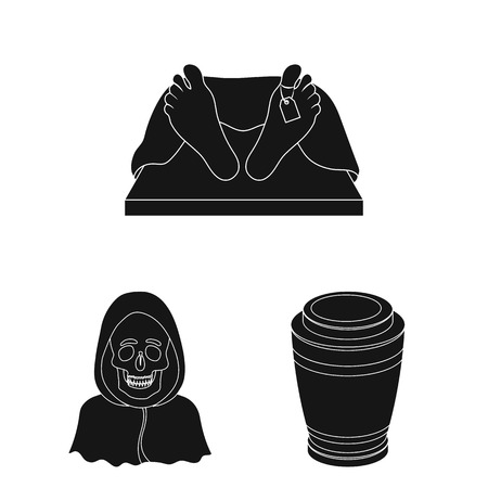 Funeral ceremony black icons in set collection for design. Funerals and Attributes vector symbol stock web illustration.