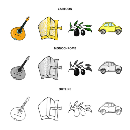 Mandolin, papa, olive, retro auto.Italy country set collection icons in cartoon,outline,monochrome style vector symbol stock illustration web. Vectores