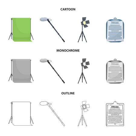 Hromakey, script and other equipment. Making movies set collection icons in cartoon,outline,monochrome style vector symbol stock illustration web.