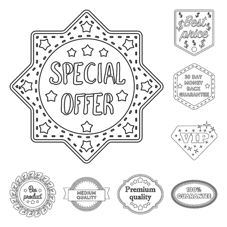 Different label outline icons in set collection for design. Index and brand vector symbol stock web illustration. Standard-Bild - 103069342