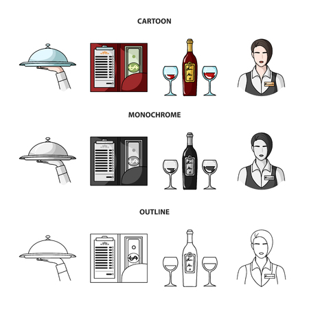 A tray with a cloth, check and cash, a bottle of wine and glasses, a waitress with a badge. Restaurant set collection icons in cartoon,outline,monochrome style vector symbol stock illustration web.