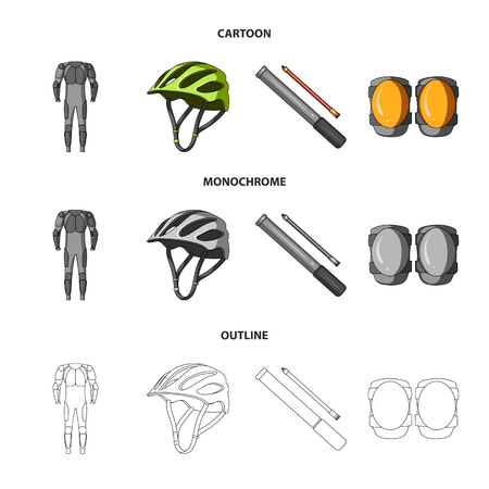 Full-body suit for the rider, helmet, pump with a hose, knee protectors.Cyclist outfit set collection icons in cartoon,outline,monochrome style vector symbol stock illustration web. Çizim