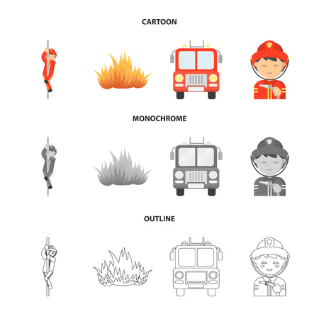 Fireman, flame, fire truck. Fire departmentset set collection icons in cartoon,outline,monochrome style vector symbol stock illustration web.