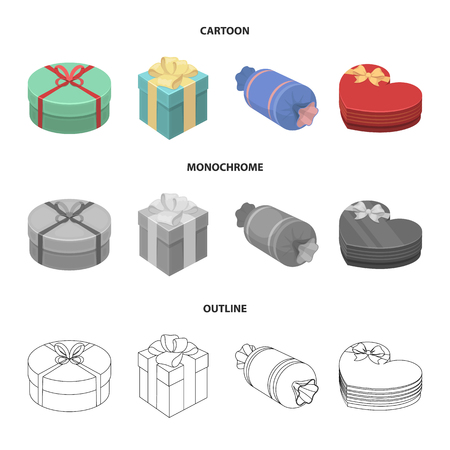 Gift box with bow, gift bag.Gifts and certificates set collection icons in cartoon,outline,monochrome style vector symbol stock illustration web.
