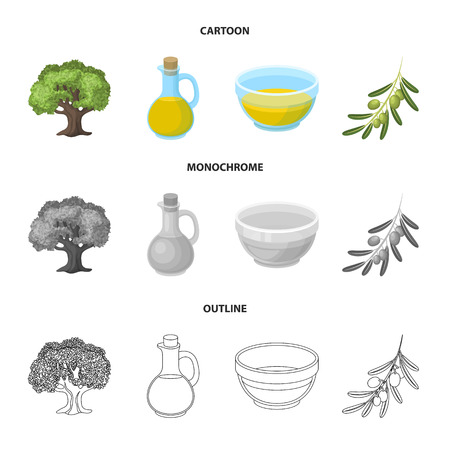An olive tree, a branch with olives, a vessel and a jug of oil. Olives set collection icons in cartoon,outline,monochrome style vector symbol stock illustration web.