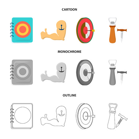 Menu, armor with tattoo, darts, corkscrew and opener.Pub set collection icons in cartoon,outline,monochrome style vector symbol stock illustration web.