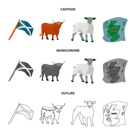 The state flag of Andreev, Scotland, the bull, the sheep, the map of Scotland. Scotland set collection icons in cartoon,outline,monochrome style vector symbol stock illustration web. Çizim