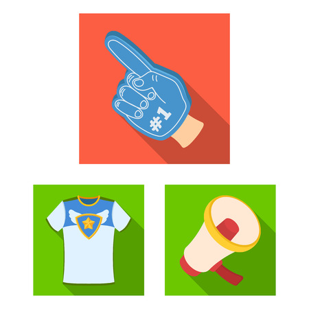 Fan and Attributes flat icons in set collection for design. Sports Fan vector symbol stock web illustration.
