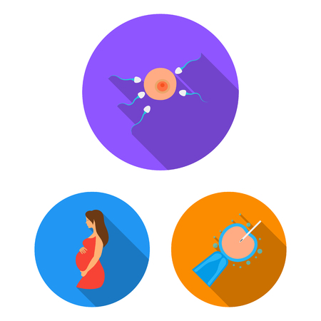 Woman and pregnancy flat icons in set collection for design. Gynecology and equipment vector symbol stock  illustration.