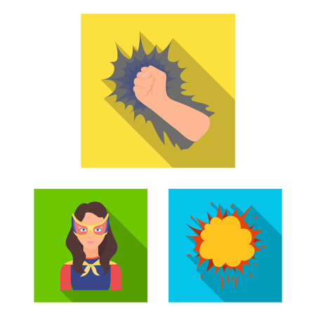 A fantastic superhero flat icons in set collection for design. Superhero equipment vector symbol stock illustration.