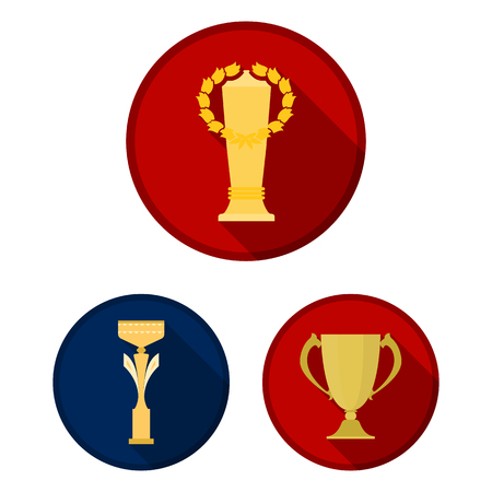 Gold Cup flat icons in set collection for design. Winners Cup vector symbol stock  illustration.