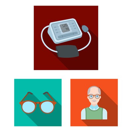 Human old age flat icons in set collection for design. Pensioner, period of life vector symbol stock  illustration.