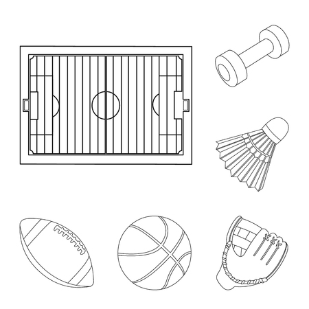 Different kinds of sports outline icons in set collection for design. Sport equipment vector symbol stock  illustration. Stock fotó - 103069794