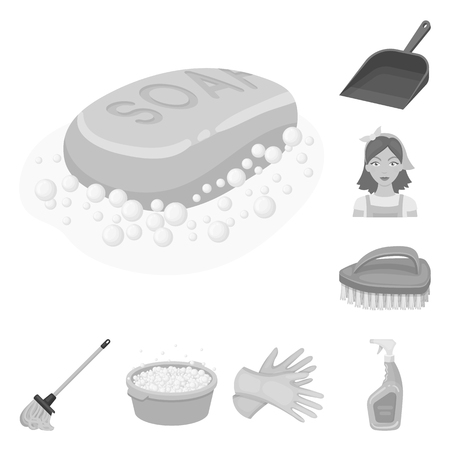 Cleaning and maid monochrome icons in set collection for design. Equipment for cleaning vector symbol stock  illustration.