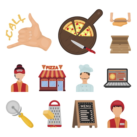 Pizza and pizzeria cartoon icons in set collection for design. Staff and equipment vector symbol stock  illustration. Illustration