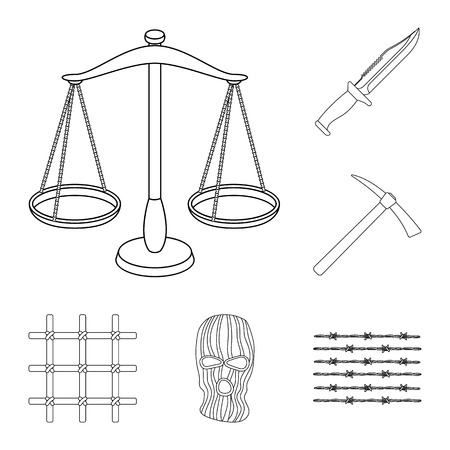 Prison and the criminaloutline icons in set collection for design.Prison and Attributes vector symbol stock  illustration. Illustration