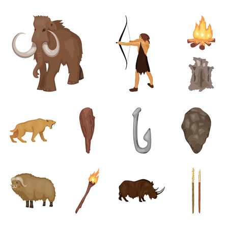 Life in the Stone Age cartoon icons in set collection for design. Ancient people vector symbol stock  illustration. Vettoriali