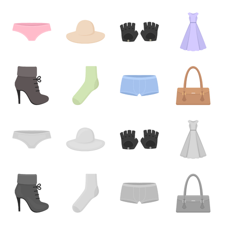 Women boots, socks, shorts, ladies bag. Clothing set collection icons in cartoon,monochrome style vector symbol stock illustration .