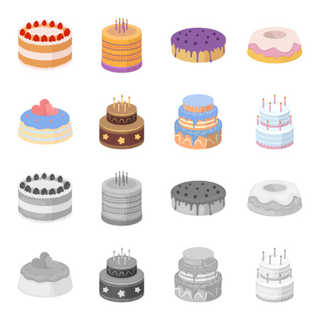 Sweetness, dessert, cream, treacle .Cakes country set collection icons in cartoon,monochrome style vector symbol stock illustration .