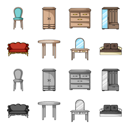 Sofa, armchair, table, mirror .Furniture and home interiorset collection icons in cartoon,monochrome style vector symbol stock illustration . Illustration