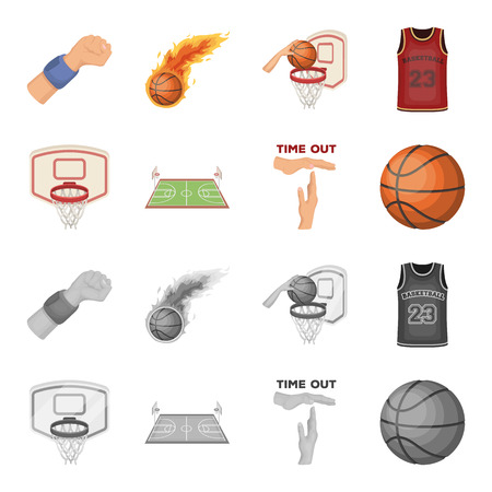 Basketball and attributes cartoon,monochrome icons in set collection for design.Basketball player and equipment vector symbol stock  illustration.