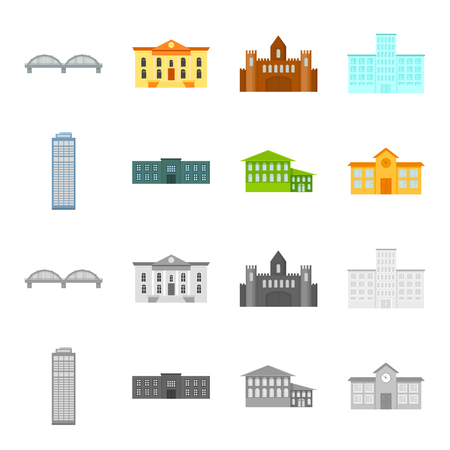 Skyscraper, police, hotel, school.Building set collection icons in cartoon,monochrome style vector symbol stock illustration .